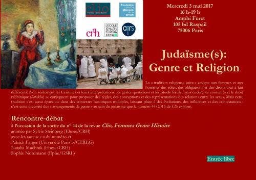judaïsme, genre, religion, ehess, clio, femme et religion,